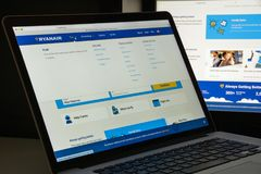 Milan, Italy - August 10, 2017: Ryanair website homepage. It is. An Irish low-cost airline founded in 1984. Ryanair logo visible Royalty Free Stock Photo