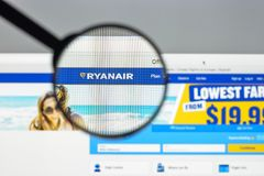 Milan, Italy - August 10, 2017: Ryanair website homepage. It is. An Irish low-cost airline founded in 1984. Ryanair logo visible Royalty Free Stock Photography