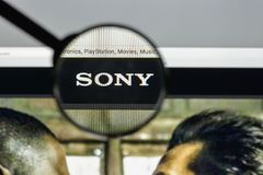 Milan, Italy - August 10, 2017: Sony website homepage. It is a J. Apanese multinational conglomerate corporation. Sony logo visible Royalty Free Stock Images