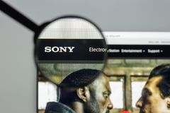 Milan, Italy - August 10, 2017: Sony website homepage. It is a J. Apanese multinational conglomerate corporation. Sony logo visible Stock Photos