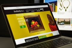 Milan, Italy - August 10, 2017: Sotheby's website. It is a Briti. Sh multinational corporation . One of the world's largest brokers of fine and decorative art Stock Image