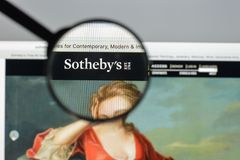 Milan, Italy - August 10, 2017: Sotheby's website. It is a Briti. Sh multinational corporation . One of the world's largest brokers of fine and decorative art Royalty Free Stock Photos