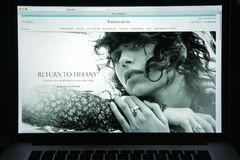 Milan, Italy - August 10, 2017: Tiffany website homepage. It is Royalty Free Stock Images
