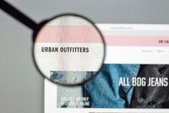 Milan, Italy - August 10, 2017: Urban outfitters website homepage. It is an American multinational clothing corporation. Urban. Outfitters logo visible royalty free stock photography