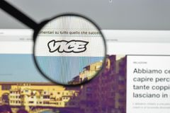 Milan, Italy - August 10, 2017: Vice.com website homepage. It is. A print magazine and website focused on arts, culture, and news topics. Vice logo visible Royalty Free Stock Photography
