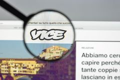 Milan, Italy - August 10, 2017: Vice.com website homepage. It is. A print magazine and website focused on arts, culture, and news topics. Vice logo visible Stock Image