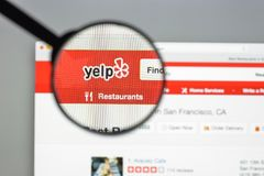 Milan, Italy - August 10, 2017: Yelp website homepage. It is an. American multinational corporation. It develops, hosts and markets Yelp.com . Yelp logo visible Royalty Free Stock Photo