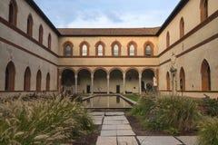 Milan Italy: the castle a courtyard Stock Photos
