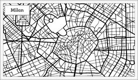 Milan Italy City Map en color blanco y negro libre illustration