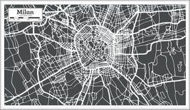 Milan Italy City Map no estilo retro Ilustração preto e branco do vetor ilustração do vetor