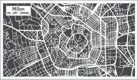 Milan Italy City Map no estilo retro Ilustração preto e branco do vetor ilustração royalty free