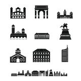Milan Italy city skyline icons set, simple style royalty free illustration