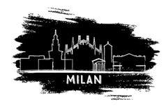 Milan Italy City Skyline Silhouette Croquis tiré par la main illustration de vecteur