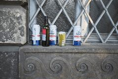 Beer cans and wine bottle. Milan, Italy - December 17, 2017 : Beer cans and wine bottle in Milan Royalty Free Stock Photography