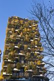 Milan - Bosco Verticale residential tower, the leaves change color in autumn, Porta Nuova district , Italy stock photos