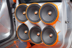 MILAN Italy 20 December 2015 : Car Tuning show . Fans of tuned cars present extreme bass speakers Royalty Free Stock Photo