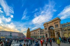 Dome Square in Milan, during Christmas time. MILAN, ITALY - DECEMBER 11, 2016: Dome Square in Milan, during Christmas, full with tourists and decorated with a Royalty Free Stock Images