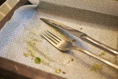 Empty plate with cutlery. Milan, Italy - December 17, 2017 : Empty plate and cutlery after lunch Royalty Free Stock Images
