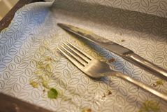 Empty plate with cutlery. Milan, Italy - December 17, 2017 : Empty plate and cutlery after lunch Stock Photo