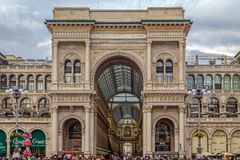 Entrance to the Vittorio Emanuele II Galleries in Dome Square at. MILAN, ITALY - DECEMBER 11, 2016: Entrance to the Vittorio Emanuele II Galleries in Dome Square Royalty Free Stock Photos