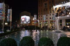 Pool and fountain of the San Babila square decorated for the Christmas holidays. royalty free stock photos