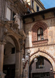 Milan, Italy. Detail of buildings in the Piazza dei Mercanti. Royalty Free Stock Photo