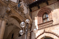 Milan, Italy. Detail of buildings in the Piazza dei Mercanti. Royalty Free Stock Photography