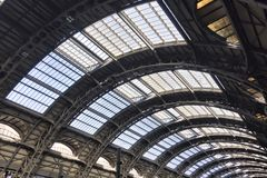 Vaulted ceiling inside Milan Centrale station Stock Image