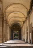 Milan, Italy. The entrance to the Papal Curia from Via Carlo Maria Martini. Curia is located near the Duomo royalty free stock image