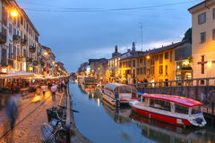 Milan, Italy. Evening scene along the Naviglio Grande canal in Milan, Italy Royalty Free Stock Photos