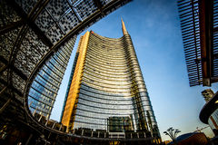 MILAN, ITALY - FEBRUARY 04,2016: Milan Porta Garibaldi District. The Unicredit Bank Skyscraper. Royalty Free Stock Photo