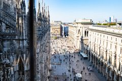 Side of Piazza del Duomo from Milan Cathedral stock photos