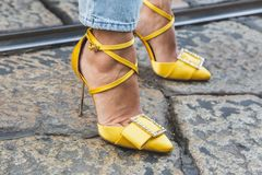 Detail of shoes at Milan Women`s Fashion Week. MILAN, ITALY - FEBRUARY 22: Detail of shoes outside Blumarine fashion show during Milan Women`s Fashion Week on royalty free stock photo
