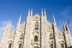 MILAN, ITALY - FEBRUARY 11, 2016. Duomo di Milano, Milan Cathedral famous italian landmark, main cathedral church. front view. Stock Photo
