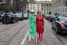 MILAN, Italy: 23 February 2019: Fashion bloggers street style outfits royalty free stock images