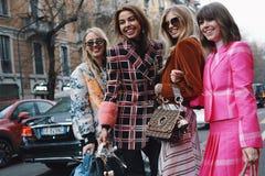 Street style during Milan Fashion Week stock photo
