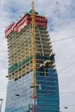 Il Curvo PwC Tower CityLife construction in Milan, Italy. royalty free stock photography