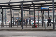 Milan, Italy - February 20 2017: Italian taxi drivers on strike. Stock Photo
