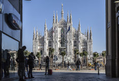 Marco Bay project for installation of `Milan Garden of the twentieth and twenty-first century` in Piazza Duomo. MILAN, ITALY - February 20, 2017: Marco Bay stock photos