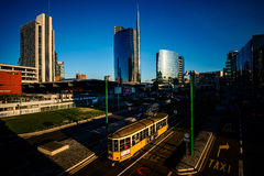 MILAN, ITALY - FEBRUARY 04,2016: Milan Porta Garibaldi district. The Unicredit Bank skyscraper. Royalty Free Stock Images