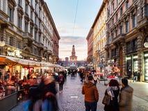 Via Dante and view of Sforza Castle in Milan stock photo