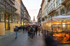 Street Via Dante in Milan city in evening royalty free stock photo