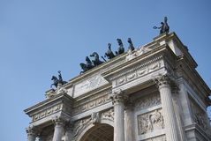 View of Arco della Pace. Milan, italy - February 10, 2018 : View of Arco della Pace in Milan Royalty Free Stock Photo