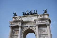 View of Arco della Pace. Milan, italy - February 10, 2018 : View of Arco della Pace in Milan Stock Images