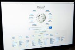 Milan, Italy - February 27, 2017: Wikipedia website on laptop sc Stock Photo