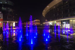 Milan, Italy, Financial district night view. Illuminated water f Stock Image