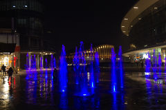 Milan, Italy, Financial district night view. Illuminated water f Royalty Free Stock Photos