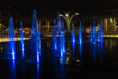 Milan, Italy, Financial district night view. Illuminated water f Royalty Free Stock Image
