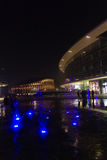 Milan, Italy, Financial district night view. Illuminated water f Royalty Free Stock Photography