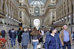 Milan, Italy - Gallery Vittorio Emanuele II. MILAN, ITALY - OCTOBER 03: ``Galleria Vittorio Emanuele II`` - Shopping center in historic, glass-covered passage Royalty Free Stock Photography